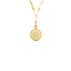 Roberto Coin Zodiac Medallion 18K Yellow Gold Diamond Cancer Medallion Necklace