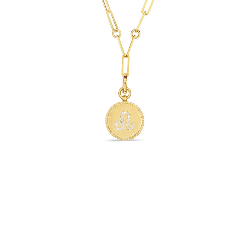 Roberto Coin Zodiac Medallion 18K Yellow Gold Diamond Leo Medallion Necklace