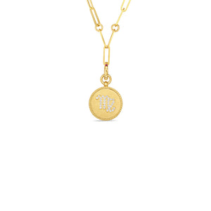 Roberto Coin Zodiac Medallion 18K Yellow Gold Diamond Virgo Medallion Necklace