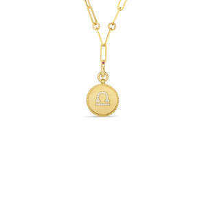 Roberto Coin Zodiac Medallion 18K Yellow Gold Diamond Libra Medallion Necklace