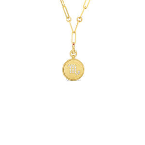 Roberto Coin Zodiac Medallion 18K Yellow Gold Diamond Scorpio Medallion Necklace