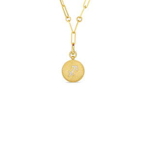 Roberto Coin Zodiac Medallion 18K Yellow Gold Diamond Sagittarius Medallion Necklace