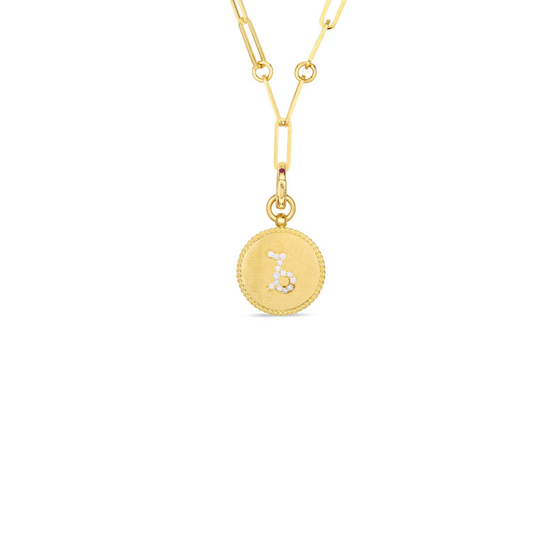 Roberto Coin Zodiac Medallion 18K Yellow Gold Diamond Capricorn Medallion Necklace
