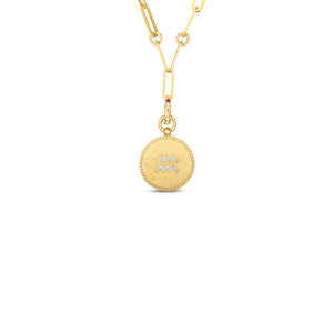 Roberto Coin Zodiac Medallion 18K Yellow Gold Diamond Aquarius Medallion Necklace