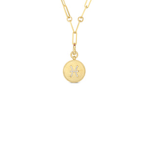 Roberto Coin Zodiac Medallion 18K Yellow Gold Diamond Pisces Medallion Necklace