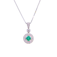 Sabel Collection 14K White Gold Round Emerald and Diamond Accent Pendant