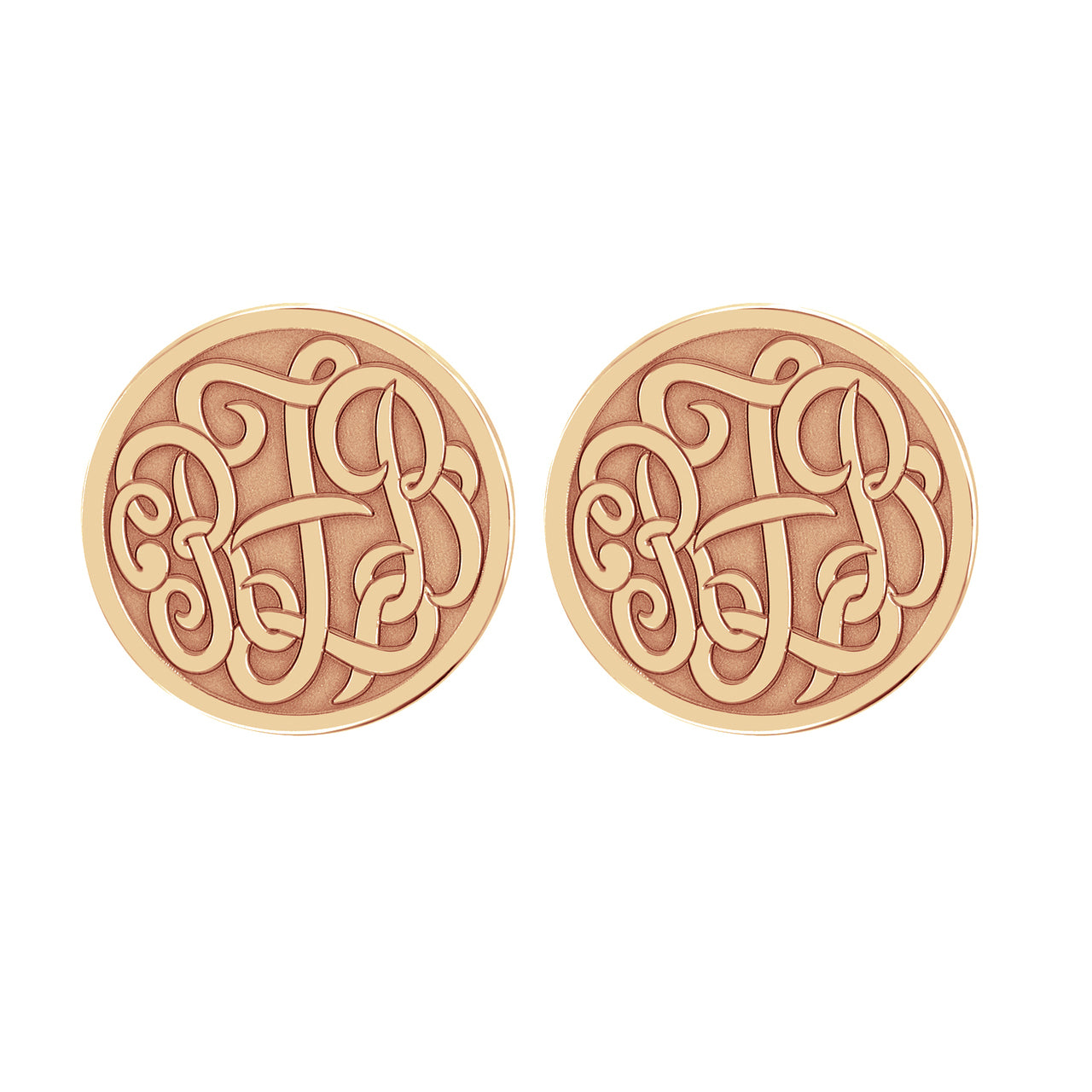Fink's 20mm Classic Recessed Monogram Stud Earrings