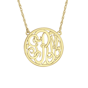 Fink's 15mm Classic Bordered Monogram Necklace
