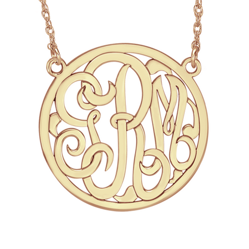Fink's 40mm Classic Bordered Monogram Necklace