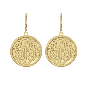 Fink's 25mm Classic Bordered Recessed Monogram Leverback Earrings