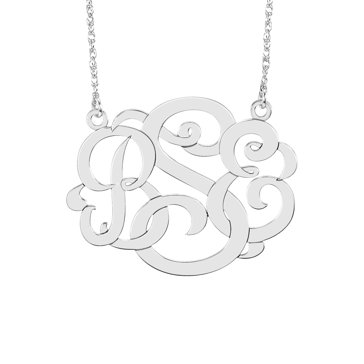 Fink's 30mm Classic Wide Monogram Necklace