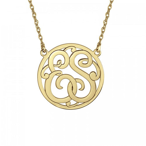Fink's 40mm Classic Bordered Two Initial Monogram Necklace