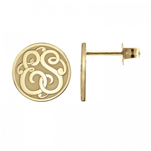 Fink's 10mm Classic Recessed Two Initial Monogram Stud Earrings