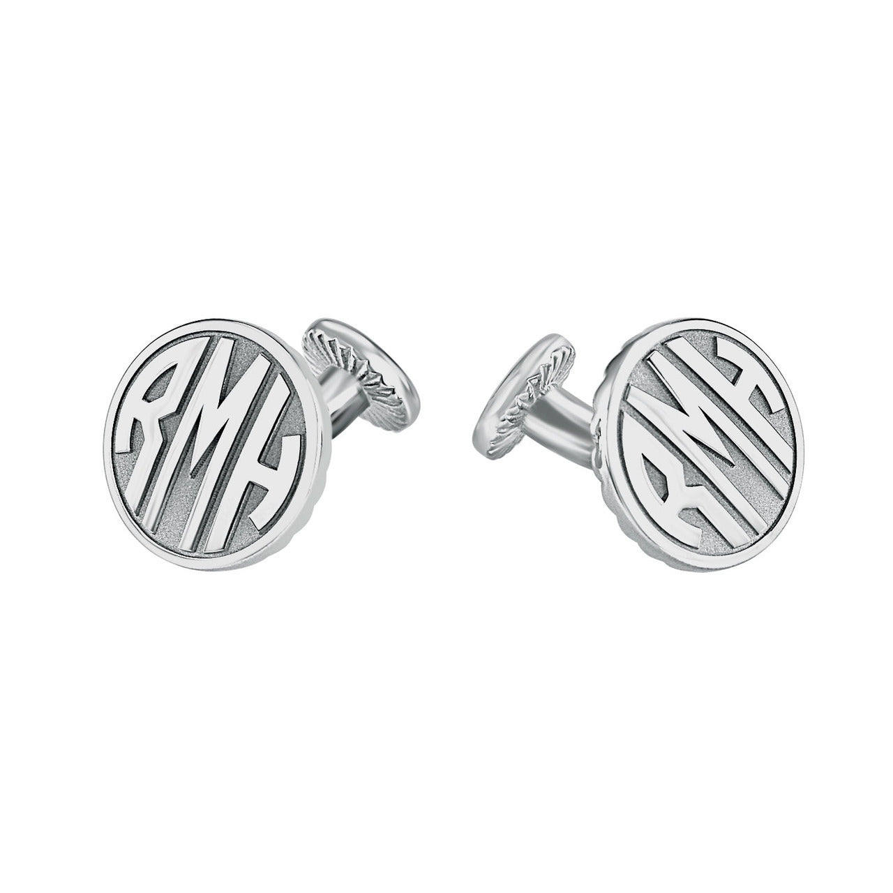 Fink's 15mm Round Original Recessed Monogram Cufflinks