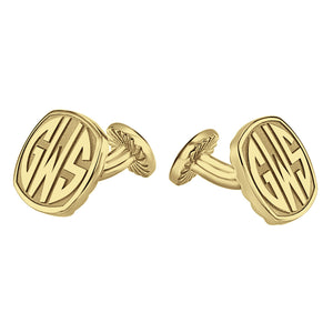 Fink's 18mm Cushion Original Monogram Block Letter Cufflinks