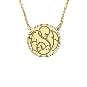 Fink's 20mm Solid Circular Bordered Monogram Necklace