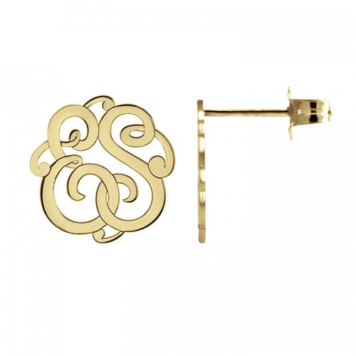 Fink's 20mm Classic Two Initial Monogram Stud Earrings