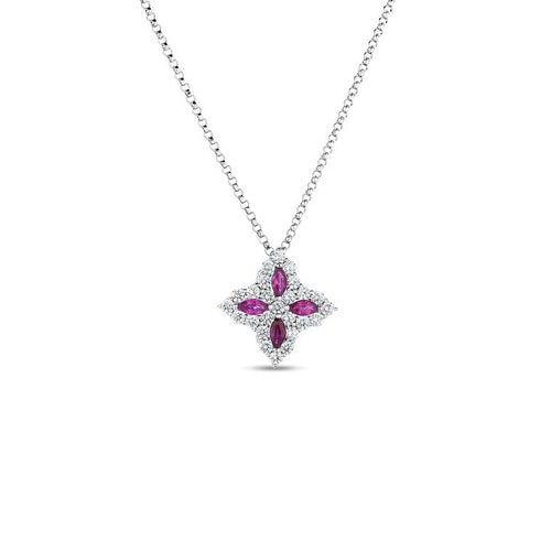 Roberto Coin Princess Flower 18K White Gold Diamond and Ruby Pendant