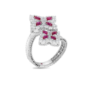 Roberto Coin Princess Flower 18K White Gold Diamond and Ruby Crossover Ring