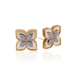 Roberto Coin Princess Flower 18K Yellow Gold Diamond Earrings