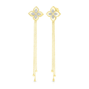 Roberto Coin Princess Flower 18K Yellow Gold Diamond Duster Earrings