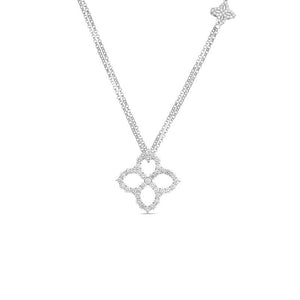 Roberto Coin Princess Flower 18K White Gold Diamond Flower Outline Necklace
