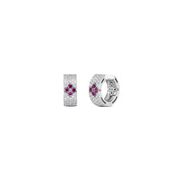 Roberto Coin Love in Verona 18K White Gold Wide Ruby and Diamond Hoop Earrings