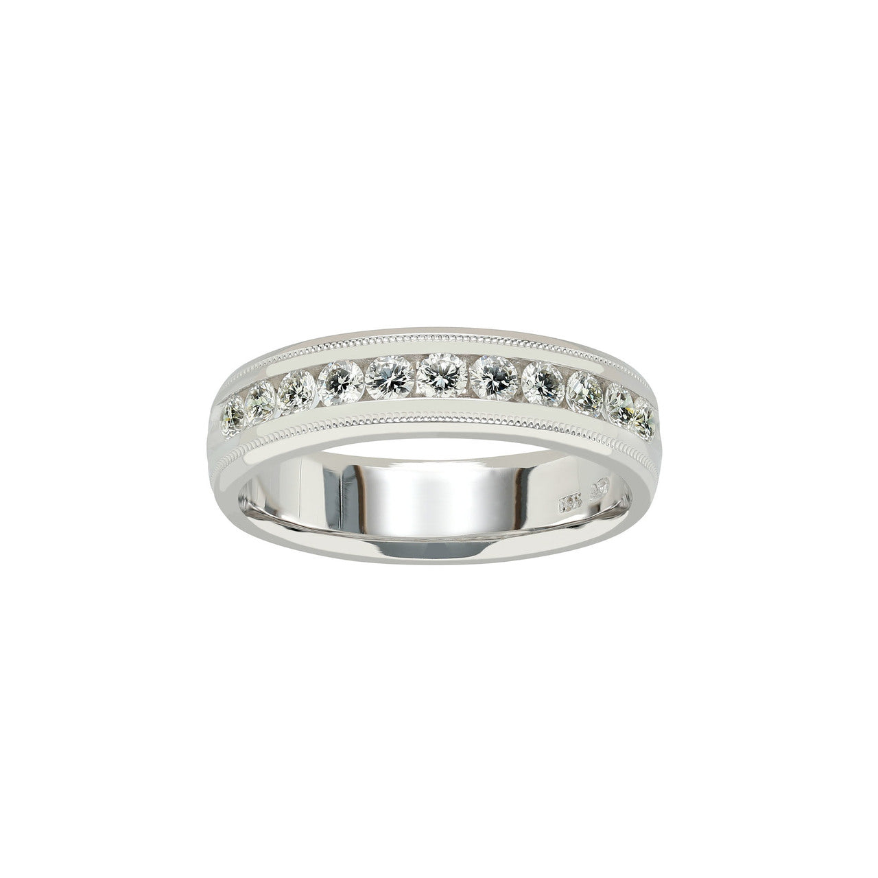 Fink's Men's Groove Design Half-Way Diamond Band