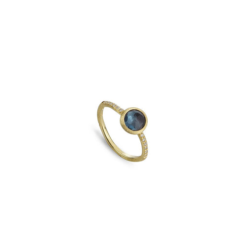 Marco Bicego Jaipur 18K Yellow Gold London Blue Topaz and Diamond Stacking Ring