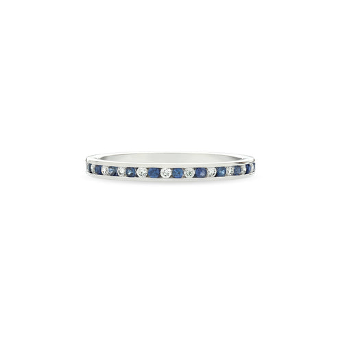 Fink's 18K White Gold Channel Set Sapphire and Diamond Wedding Band