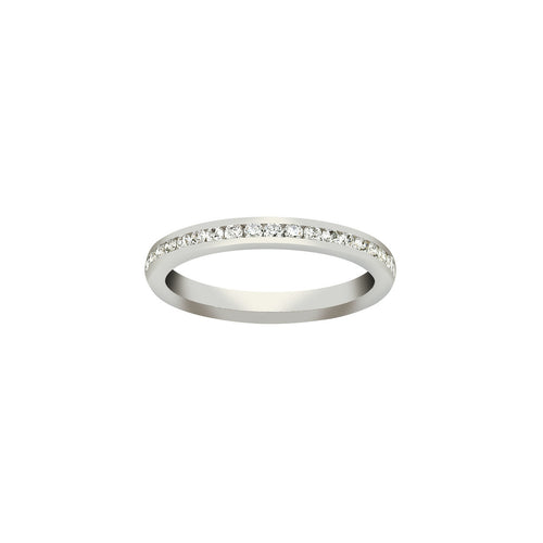 Fink's 18K White Gold Channel Set Diamond Wedding Band with Round Diamonds