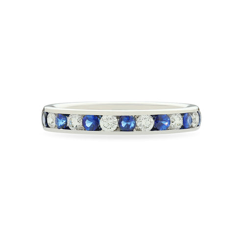 Fink's 18K White Gold Channel Set Diamond and Sapphire Wedding Band