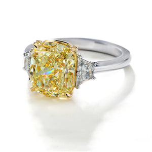 Fink's Exclusive 18K Yellow Gold and Platinum Fancy Yellow Cushion Diamond and Trapezoid Diamond Engagement Ring