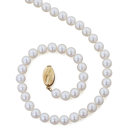 Sabel Pearl 14K Yellow Gold Near Round Freshwater Cultured Pearl Strand in 6-7mm Width