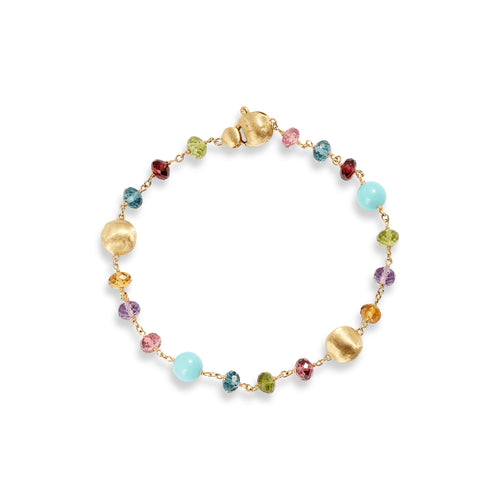 Marco Bicego Africa 18K Yellow Gold Multi-Colored Gemstone and Turquoise Station Bracelet