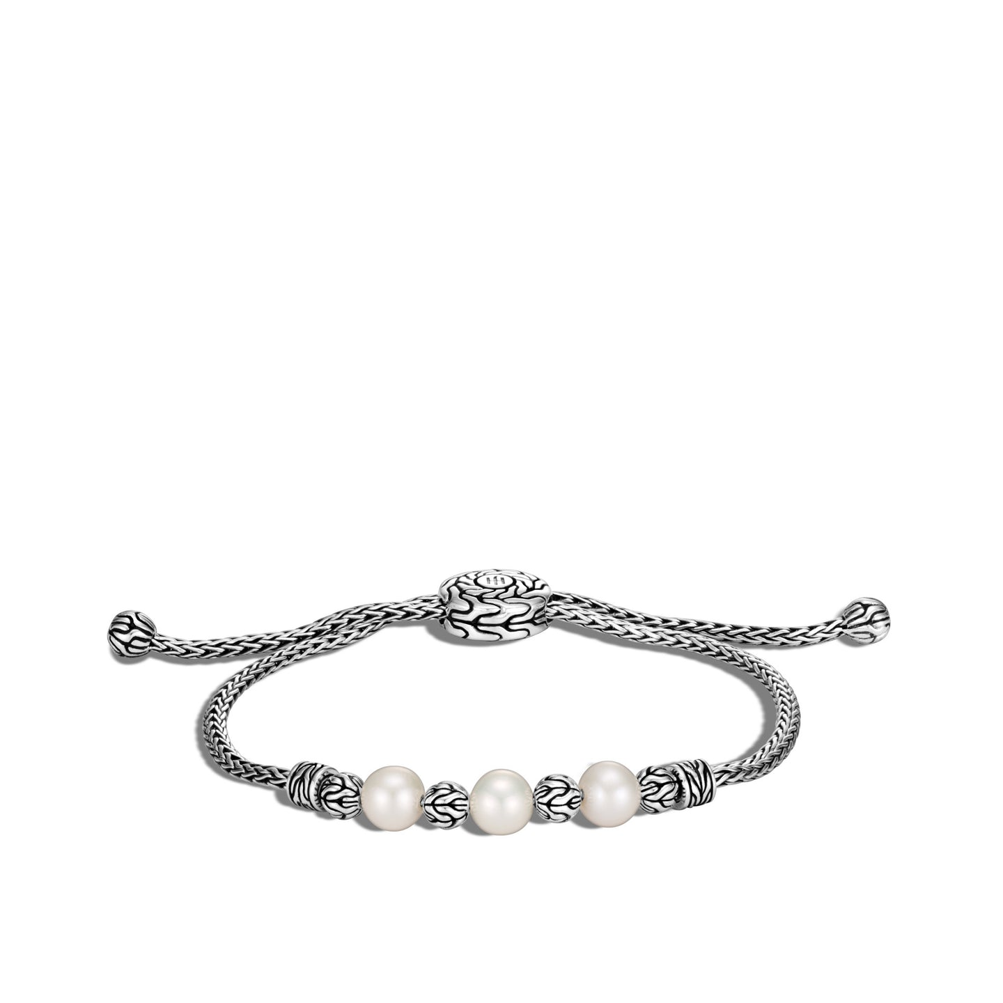 John Hardy Classic Chain Pull Through Freshwater Pearl Station Bracelet