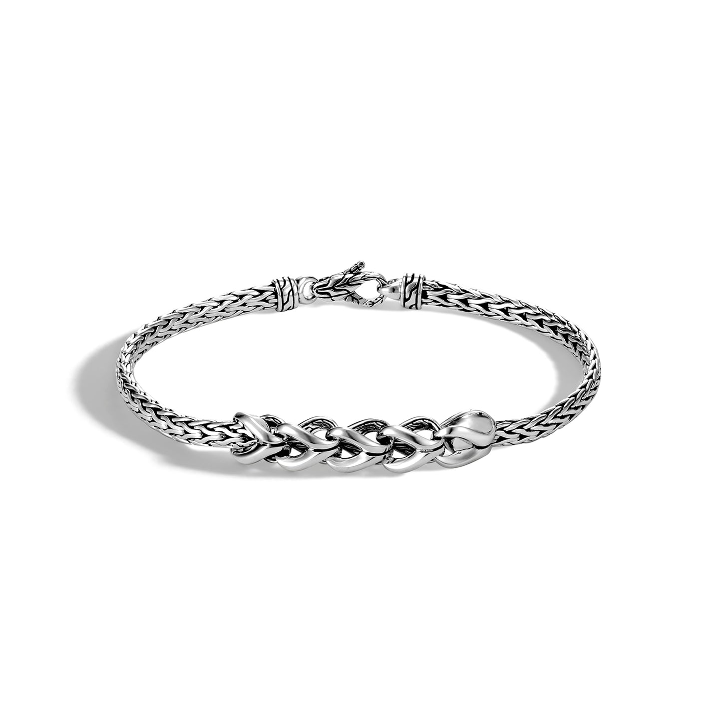 John Hardy Classic Chain Sterling Silver Asli Chain Link Station Mini Bracelet
