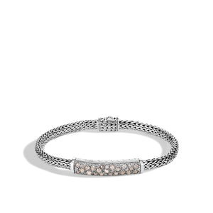 John Hardy Classic Chain Sterling Silver 5mm Grey and White Diamond Bracelet