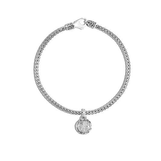 John Hardy Classic Chain Sterling Silver and Round Diamond Charm Bracelet