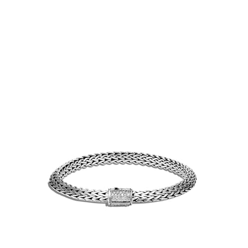 John Hardy Tiga Classic Chain Sterling Silver Bracelet with Diamond Clasp