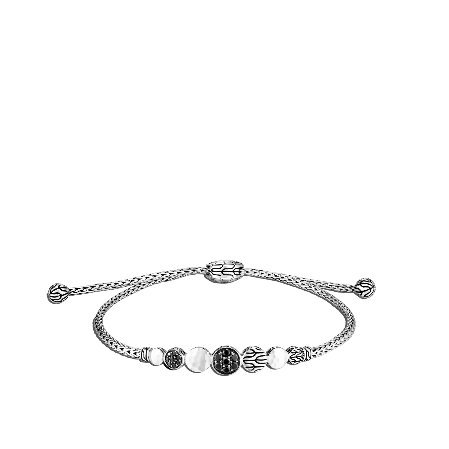 John Hardy Dot Sterling Silver Hammered Mini Pull-Through Bracelet with Black Sapphire