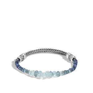 John Hardy Classic Chain Sterling Silver Aquamarine and Kyanite Bead and Chain Bracelet