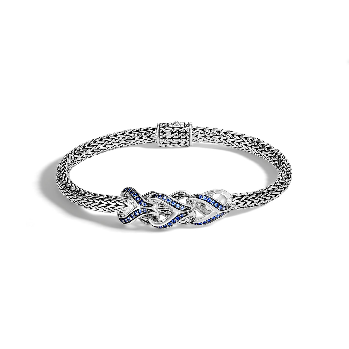 John Hardy Classic Chain Sterling Silver Asli Station Bracelet with Blue Sapphire