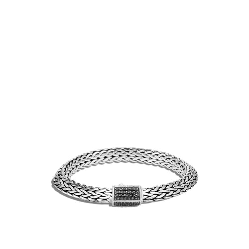John Hardy Tiga Classic Chain Sterling Silver Black Sapphire Clasp Bracelet