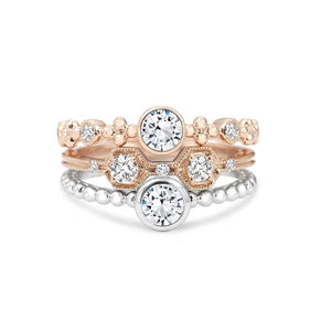 Forevermark Tribute™ Collection 18K White Gold Diamond Bezel Beaded Shank Stacking Ring
