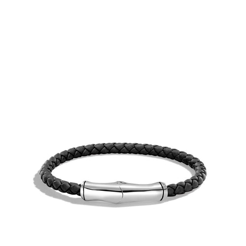 John Hardy Men's Bamboo Black Leather 5mm Bracelet