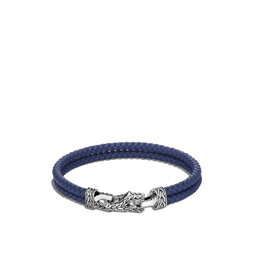 John Hardy Men's Classic Chain Two-Row Blue Leather Braided Link Station Asli Bracelet