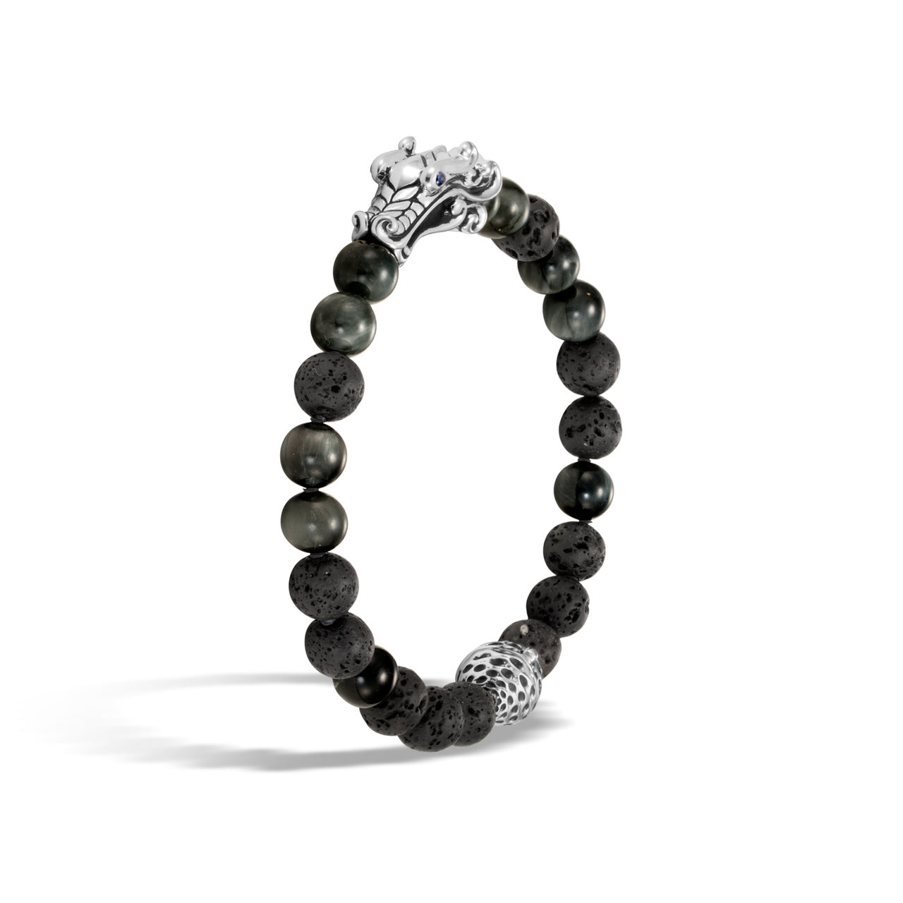 John Hardy Men's Legends Naga Eagle Eye and Black Volcanic Rock Bead Bracelet