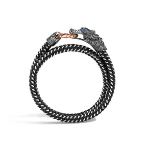 John Hardy Men's Legends Black Nylon Cord and Black Rhodium Sterling Silver Naga Double Wrap Bracelet with Bronze Ring Clasp