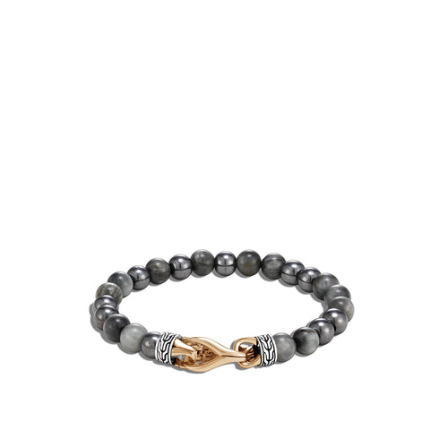 John Hardy Men's Classic Chain Sterling Silver and Bronze Eagle Eye and Hematite Bead Bracelet